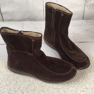 Timberland Brown Suede Leather Fur Lined Boots